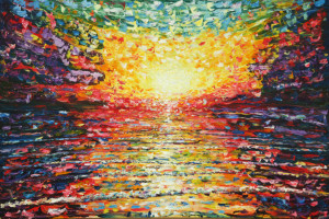 Very Large Oil Painting of sun setting over rippling waves