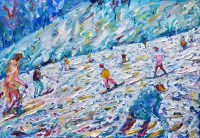 Val D'Isere skiing snowboarding painting on Ok Coupe du Monde Piste