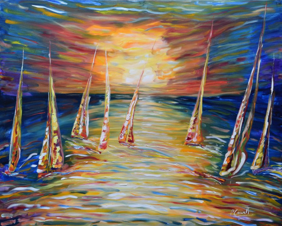 Sunset Sailing Painting Print For Sale