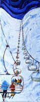 Skiing Painting Tignes chair lift Grand Huit