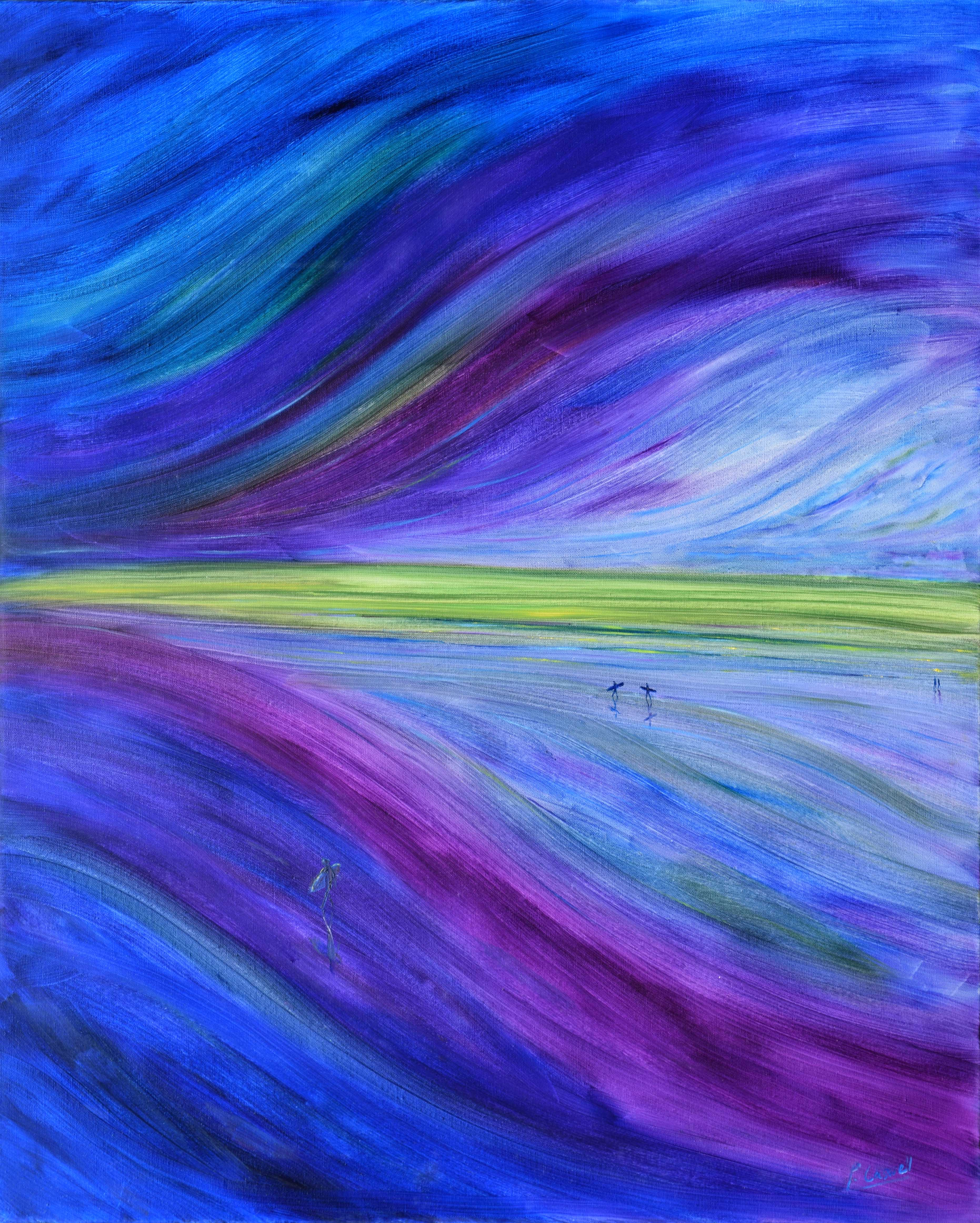 purple surfers on the beach painting for sale