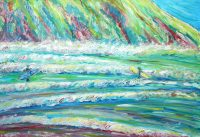 Putsborough Beach Surf Painting For Sale