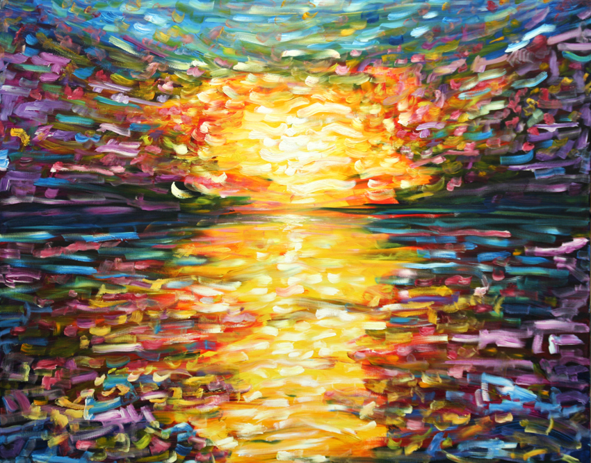 Large sunset oil painting for sale on canvas pete caswell for Large canvas prints for sale