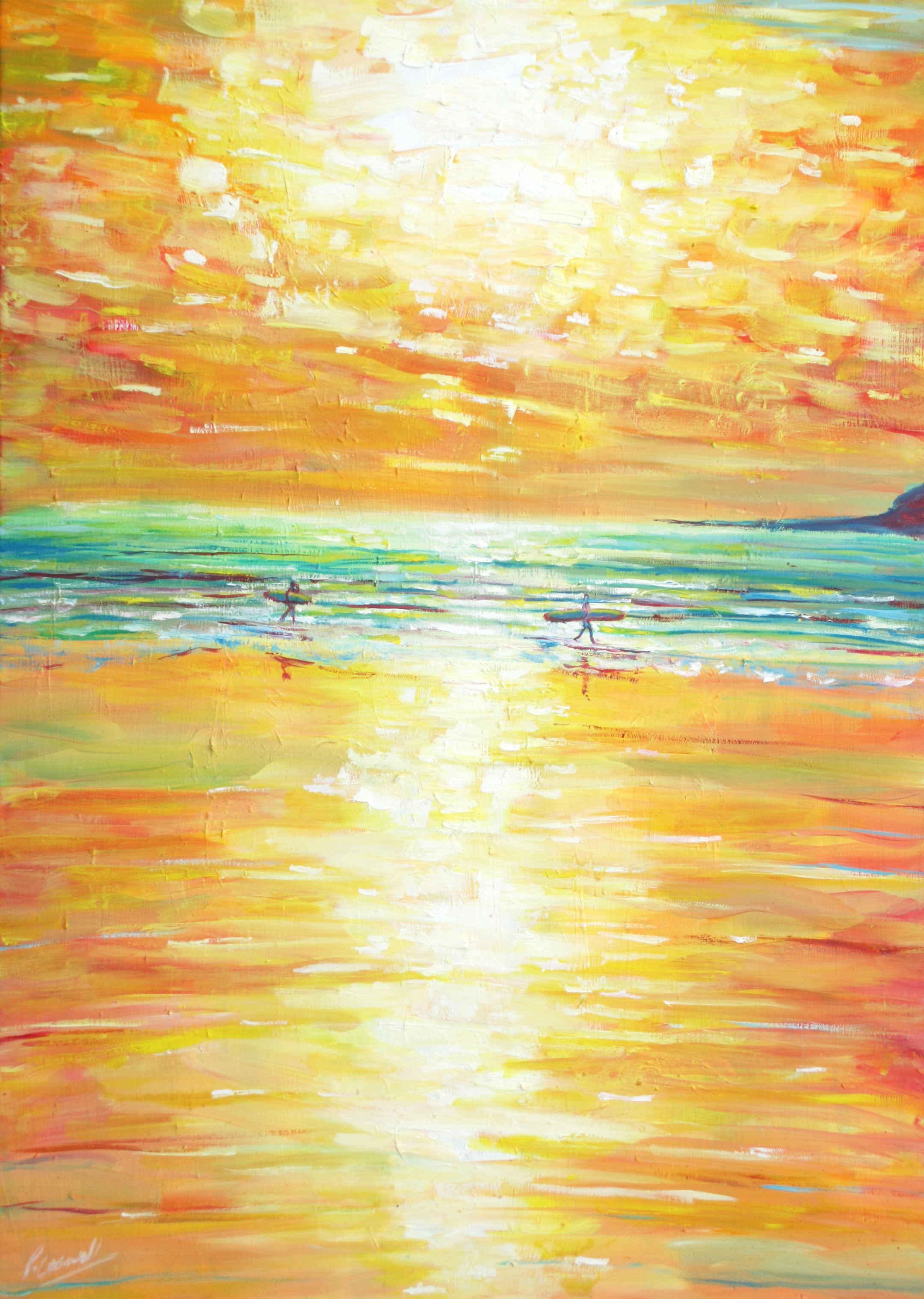 Yellow surfers at sunset oil painting for sale pete caswell for Oil art for sale