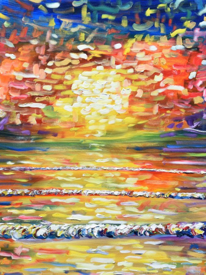 Large Colourful Paintings For Sale of Sunsets and Skiing