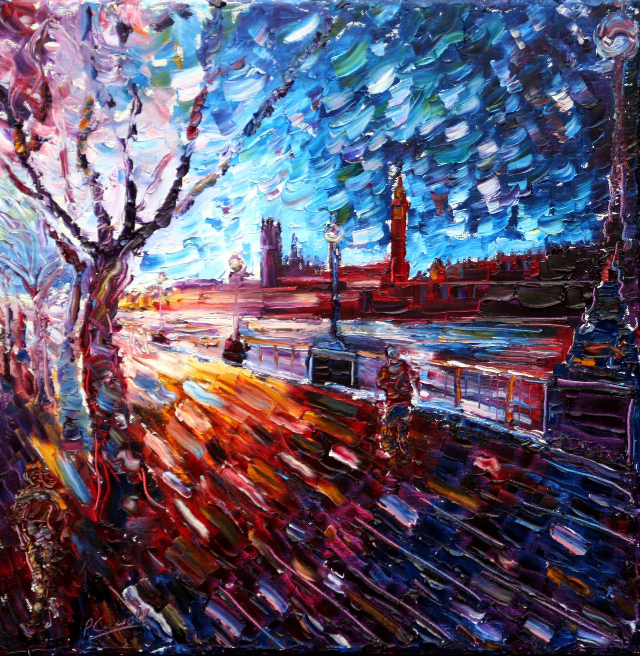 London Oil Painting For Sale Of Westminster Bridge,Big Ben