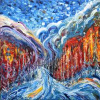 Courmayeur Mt Blanc skiing painting