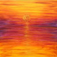 Putsborough sunset painting in orange sky for sale