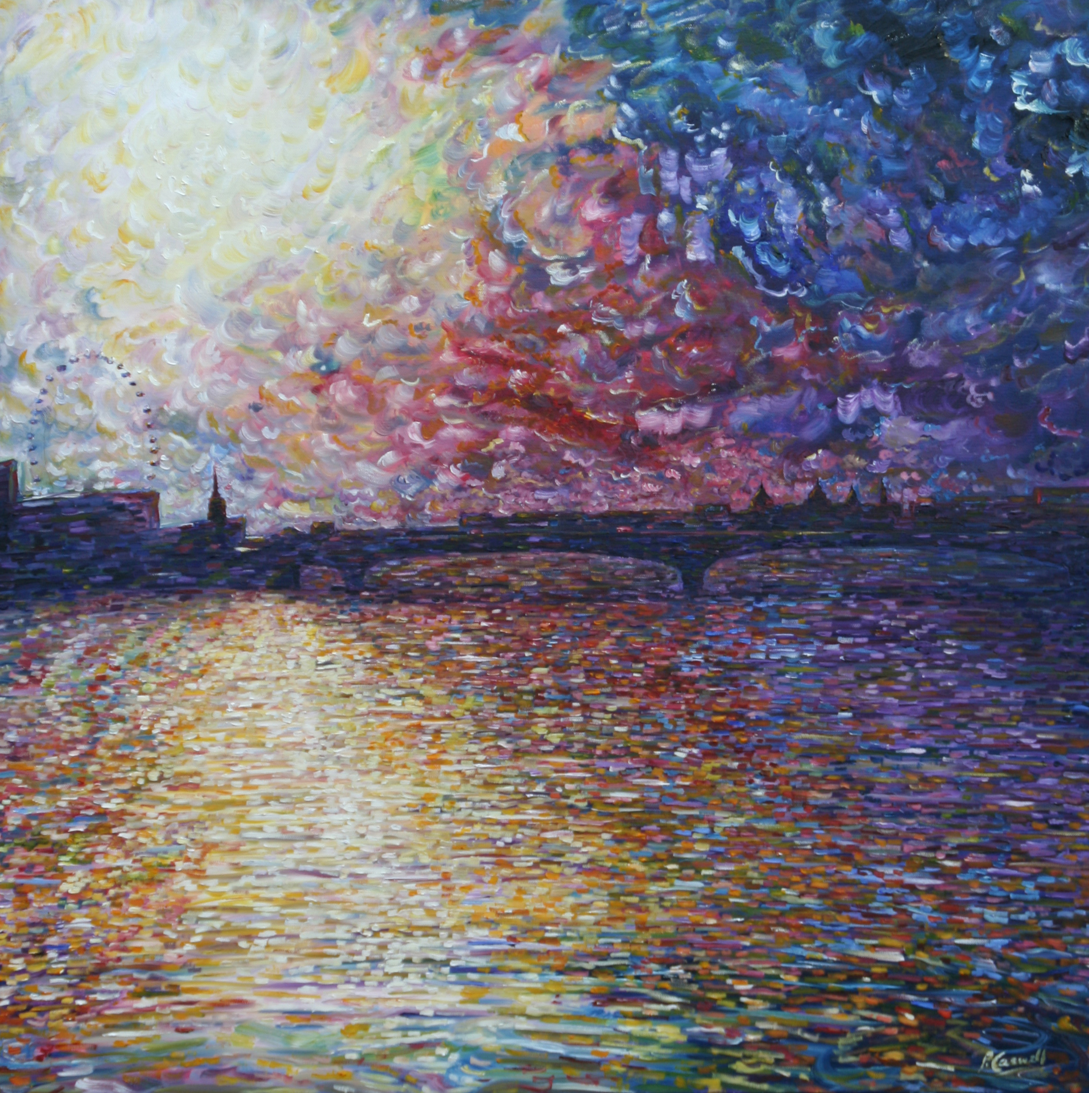 Waterloo bridge river thames oil painting for sale pete for Large artwork for sale