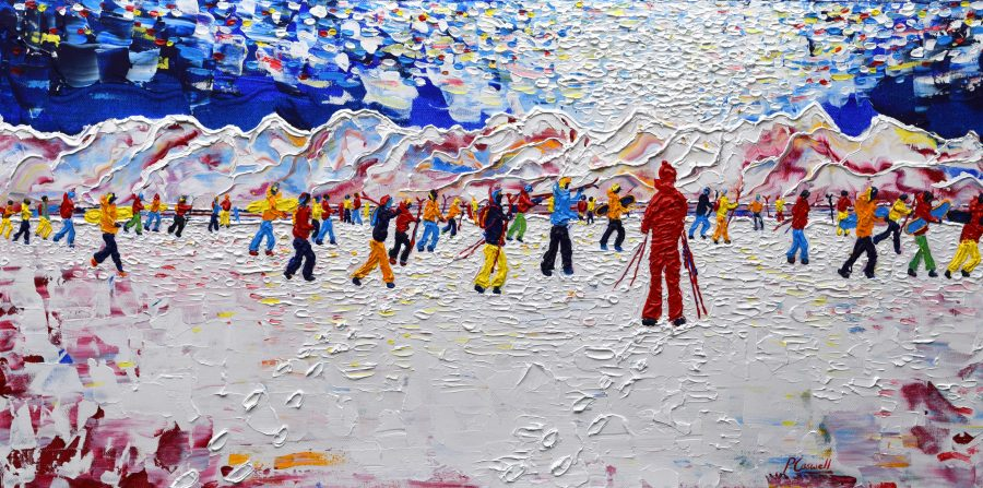 Tignes Grande Motte Val D'Isere skiing and Snowboarding painting for sale