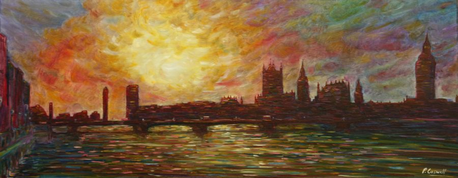 Large London Paintings For Sale, very colourful Westminster Bridge, Big Ben, Houses of Parliament, River Thames