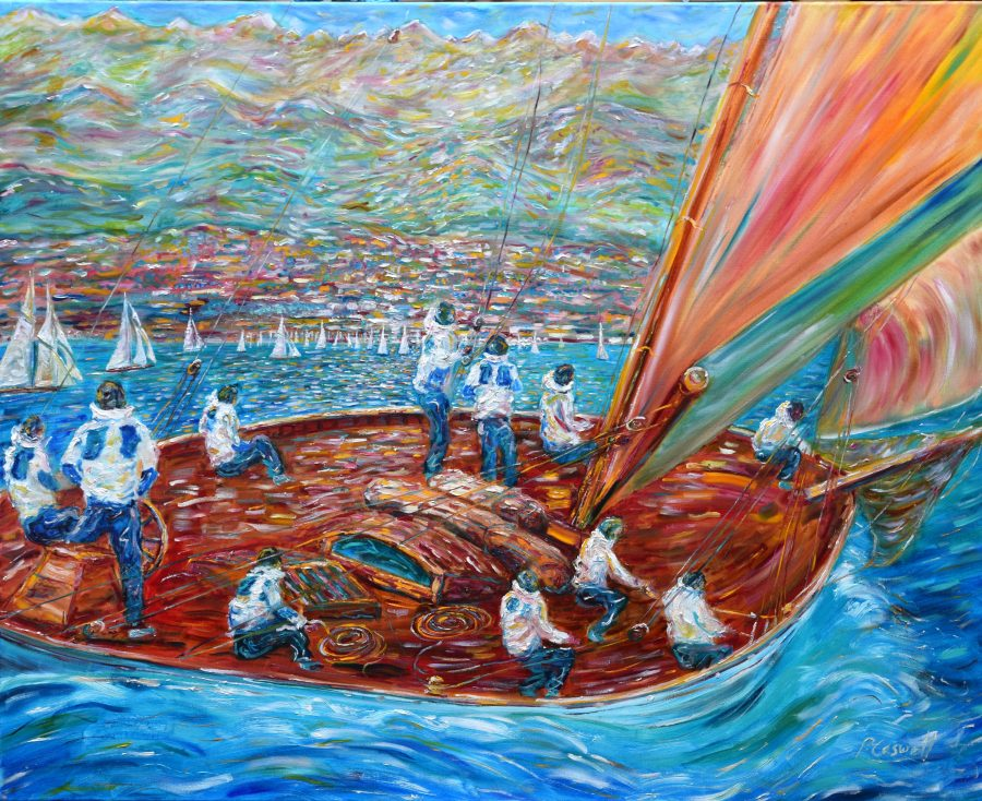 Yacht Sailing Painting for sale from Cannes, Antibes, St Tropez, Monaco