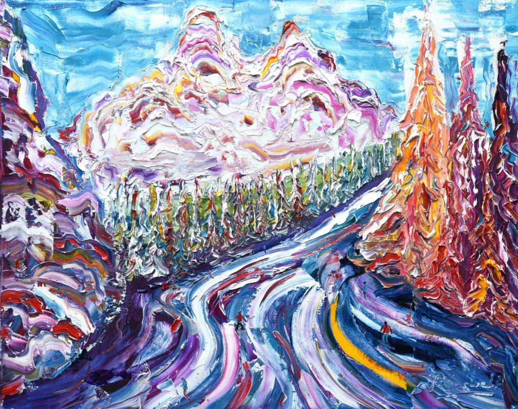 Meribel Skiing painting for sale