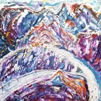 Meribel courchevel skiing painting for sale Saluire