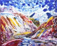Val D'Isere Skiing snowboarding painting for sale