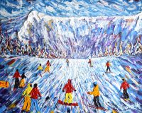 Megeve Skiing Painting Print
