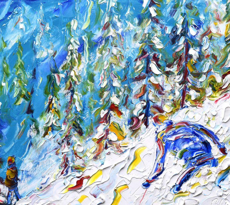 Chamonix, Chamonix Mt Blanc, Argentiere, Courmayeur, Les Grands Montets, Brévent - Flégère,Les Houches Skiing Paintings For Sale