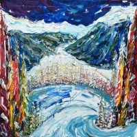 Davos Klosters skiing and snowboarding paintings and prints of ski paintings