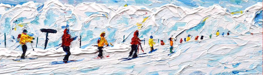 Skiing and Snowboard Paintings For Sale