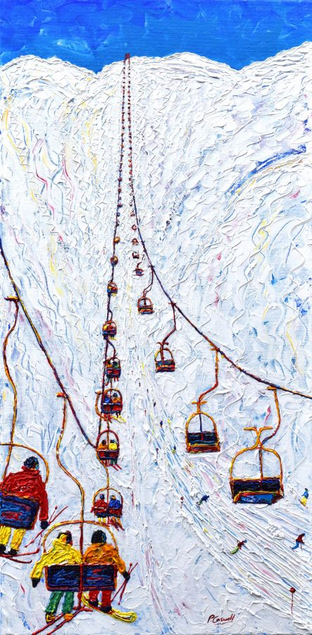 Valluga St Anton Off Piste Skiing Painting