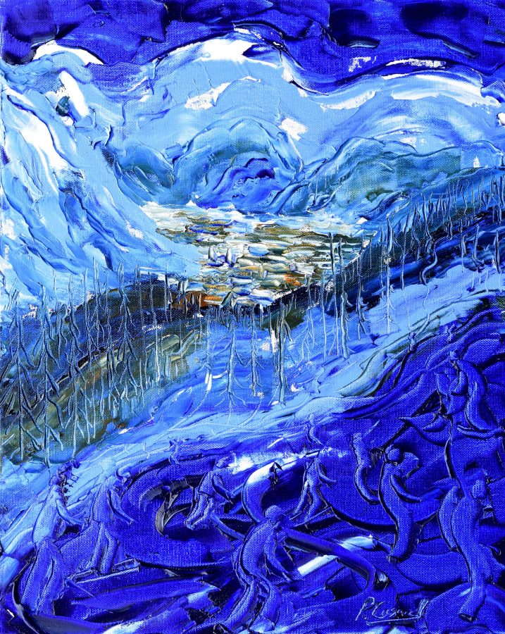 Skiing Snowboarding Painting Coupe Du Monde Val D'Isere II
