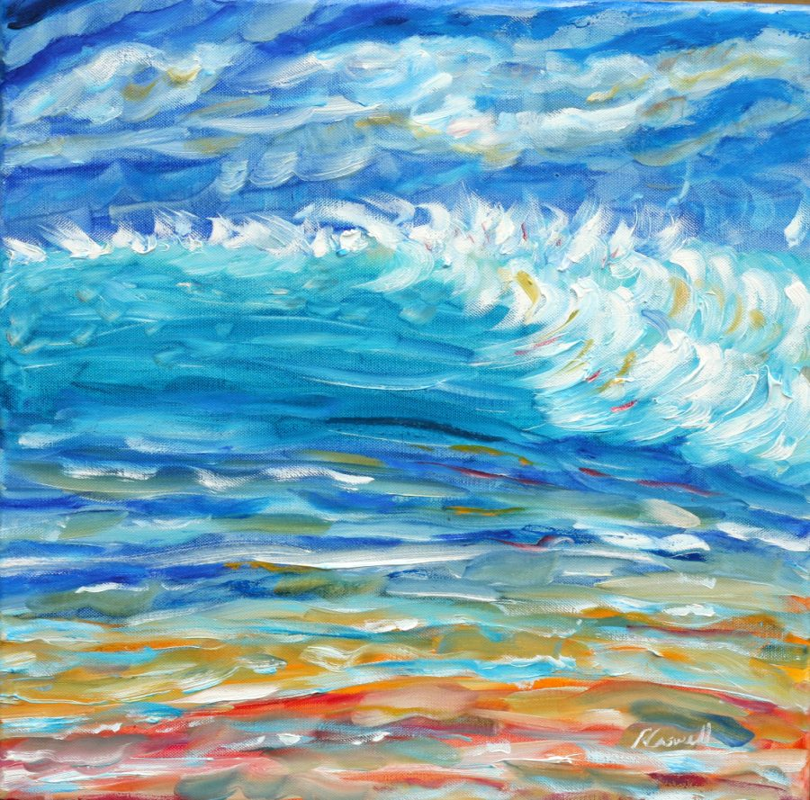 Tropical beach wave painting