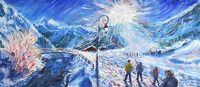 Val d'Isere Skiing Painting La Daille
