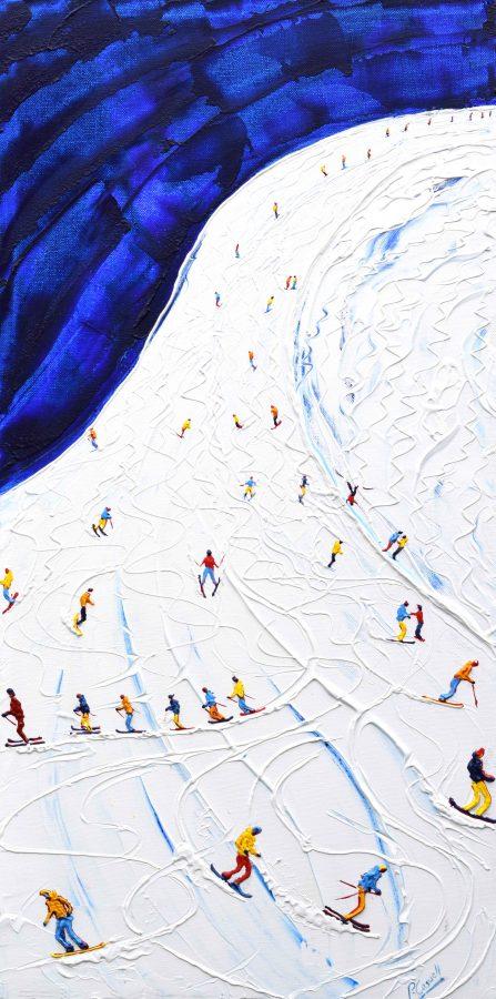 Toviere head back to Tignes Val Claret ski Painting on henri Piste