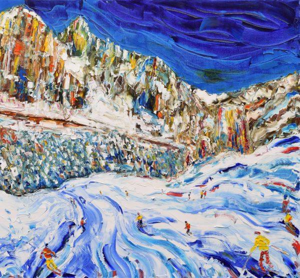 Cortina Dolomites skiing painting