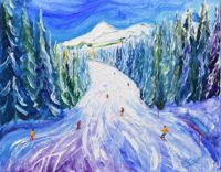 Skiing Painting and Print from Morzine