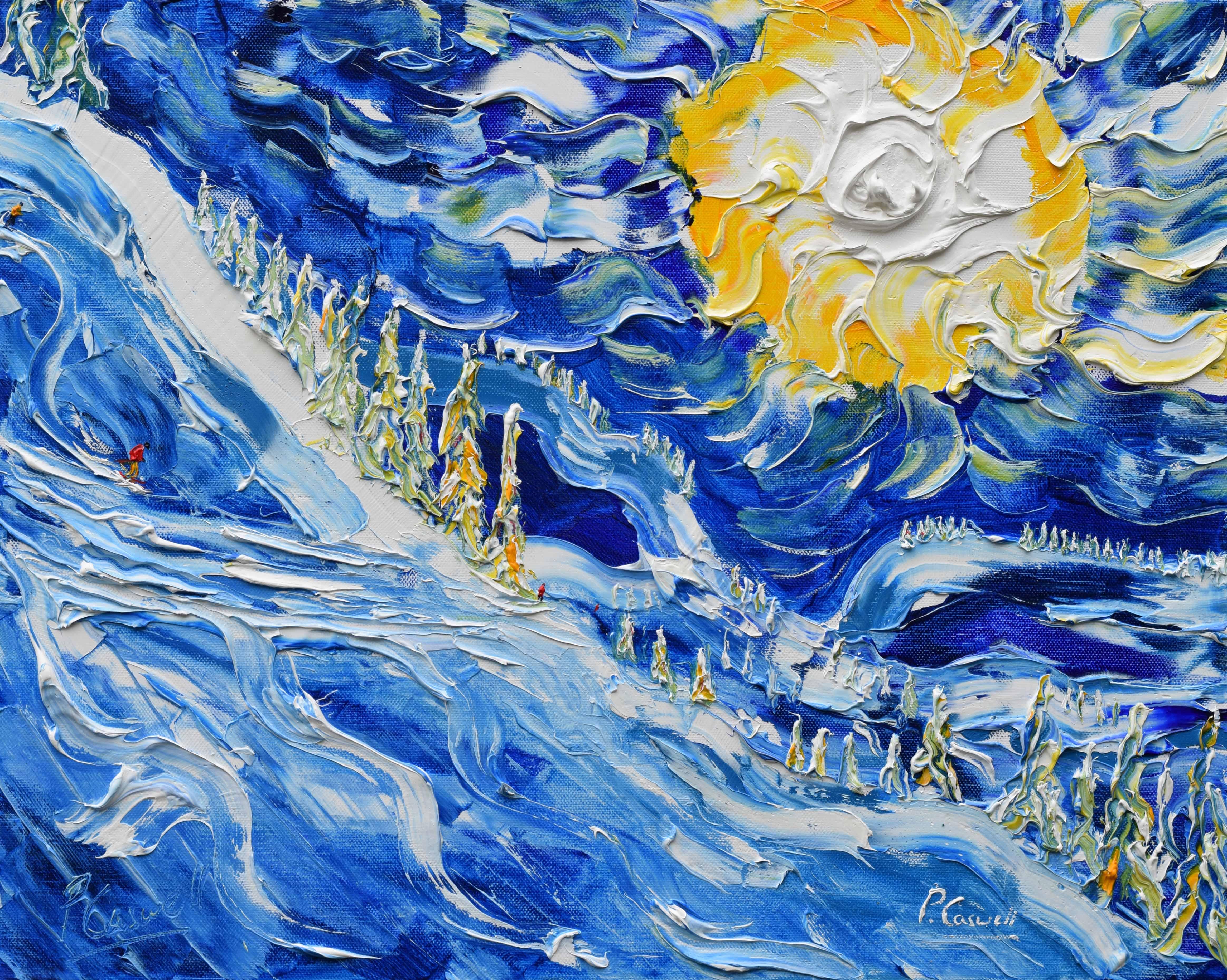 Morzine Skiing Paintings Portes Du Soleil