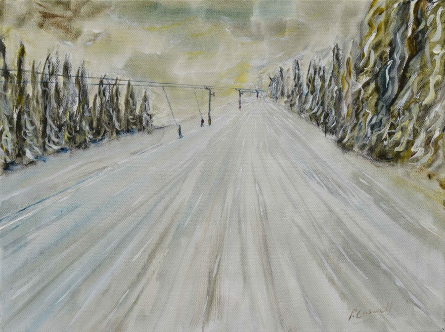 winter ski painting in Grande Massif Samoens