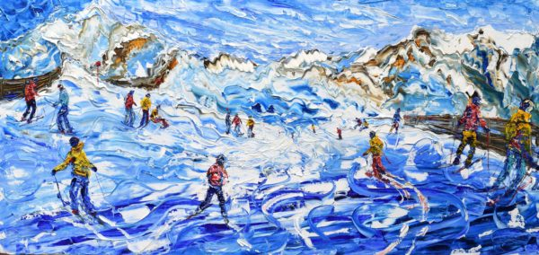 St Anton skiing painting and print