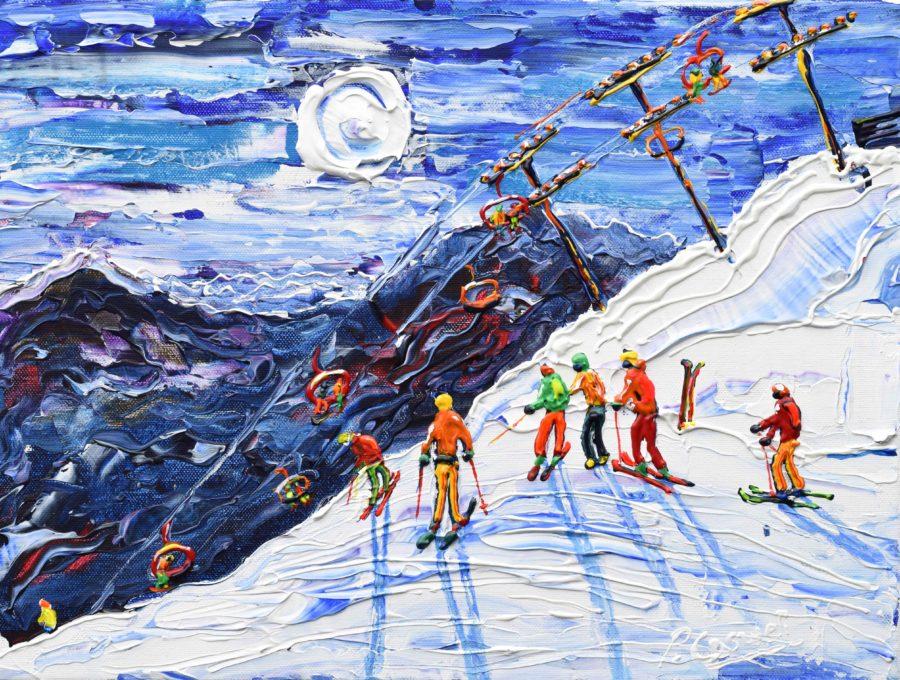 Avoriaz Ski Painting Print near Morzine