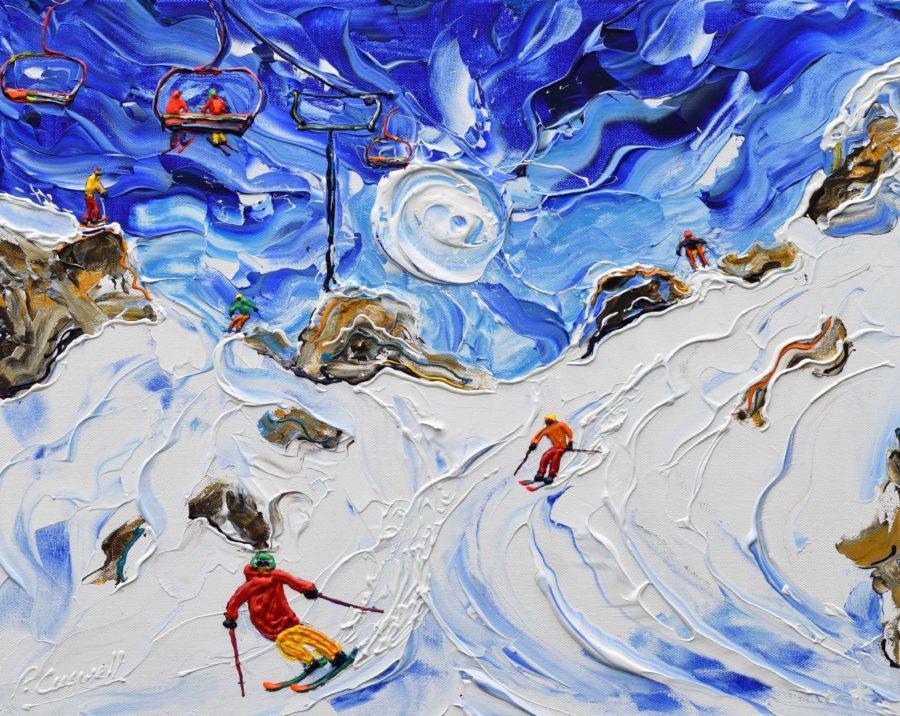Avoriaz Morzine skiing painting