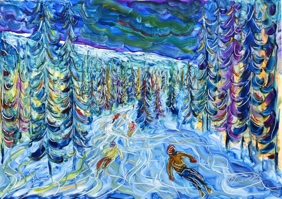 La Plagne ski print painting