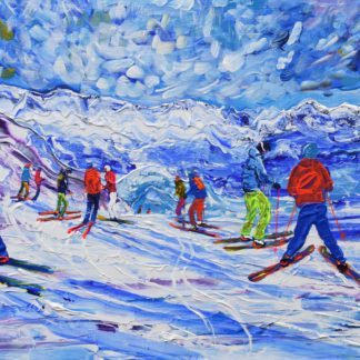 Les Gets Skiing Painting