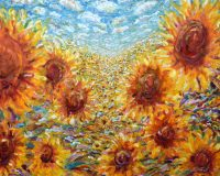 Sunflower Painting For Sale in an impressionist colourful style