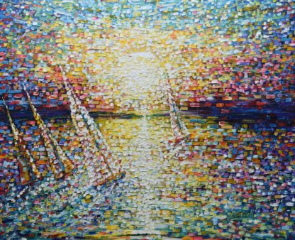 Large impressionist sailing painting Cannes South France