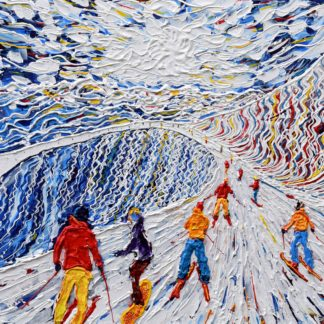 Meribel Courchevel Skiing Painting