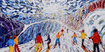 Meribel Courchevel Skiing Painting