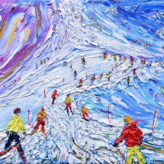 Tignes vintage print ski painting