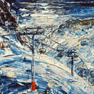 Tignes and Val d'Isere Ski Painting and Ski Print Poster