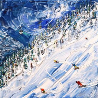 Val d'Isere Skiing Painting Le face