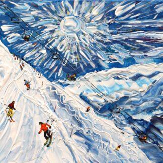 tignes val d'Isere ski painting ski print