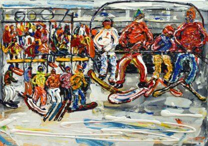 Val d'Isere vintage ski poster and ski painting