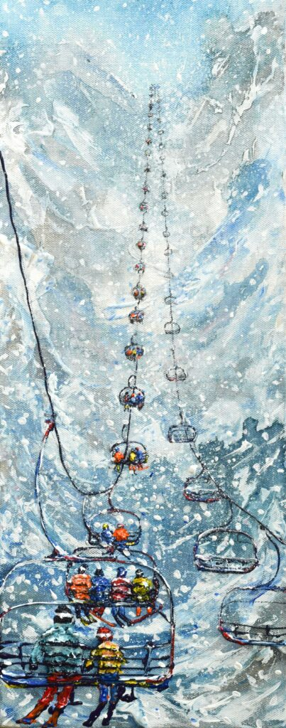 Tignes Val d'isere Ski Lift Painting and Ski Poster in the snow