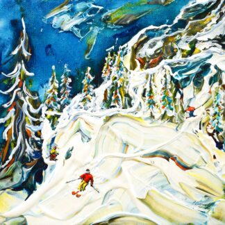 Val d'Isere Ski Painting and Ski Poster
