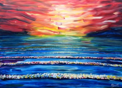 Very Large Woolacombe Sunset painting For Sale