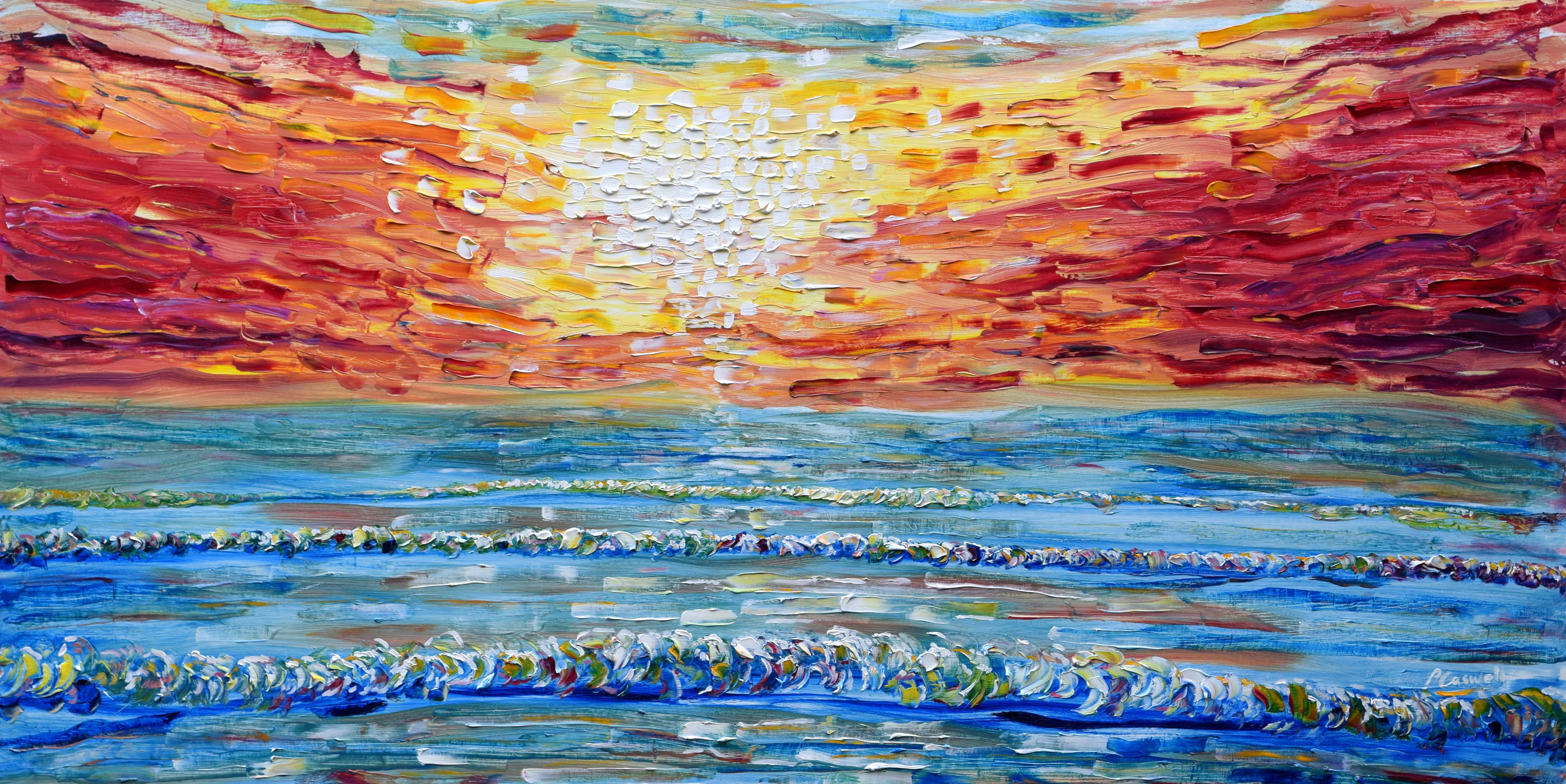 Sunset oil painting for sale from woolacombe pete caswell for Oil art for sale